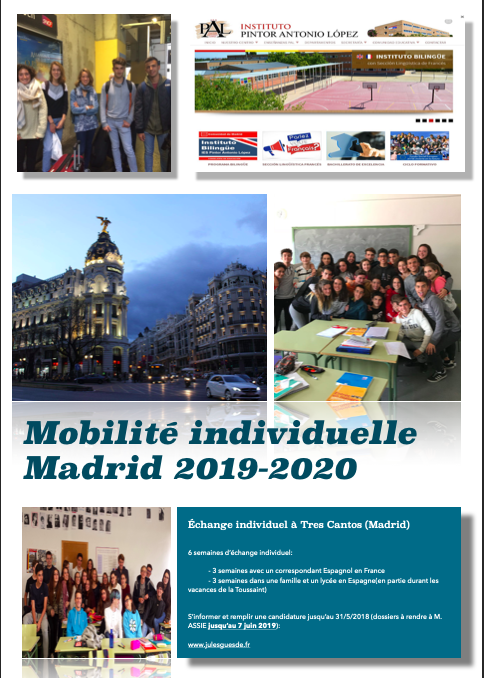 APPEL A CANDIDATURE MOBILITE INDIVIDUELLE TRES CANTOS (MADRID)